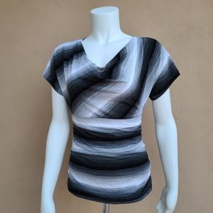 iZ Byer Striped Cowl Neck Ombre Lace Back Top S